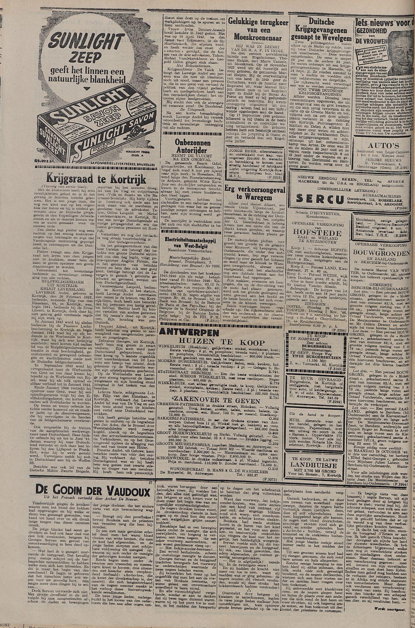 Kortrijksch Handelsblad 22 oktober 1946 Nr85 p4