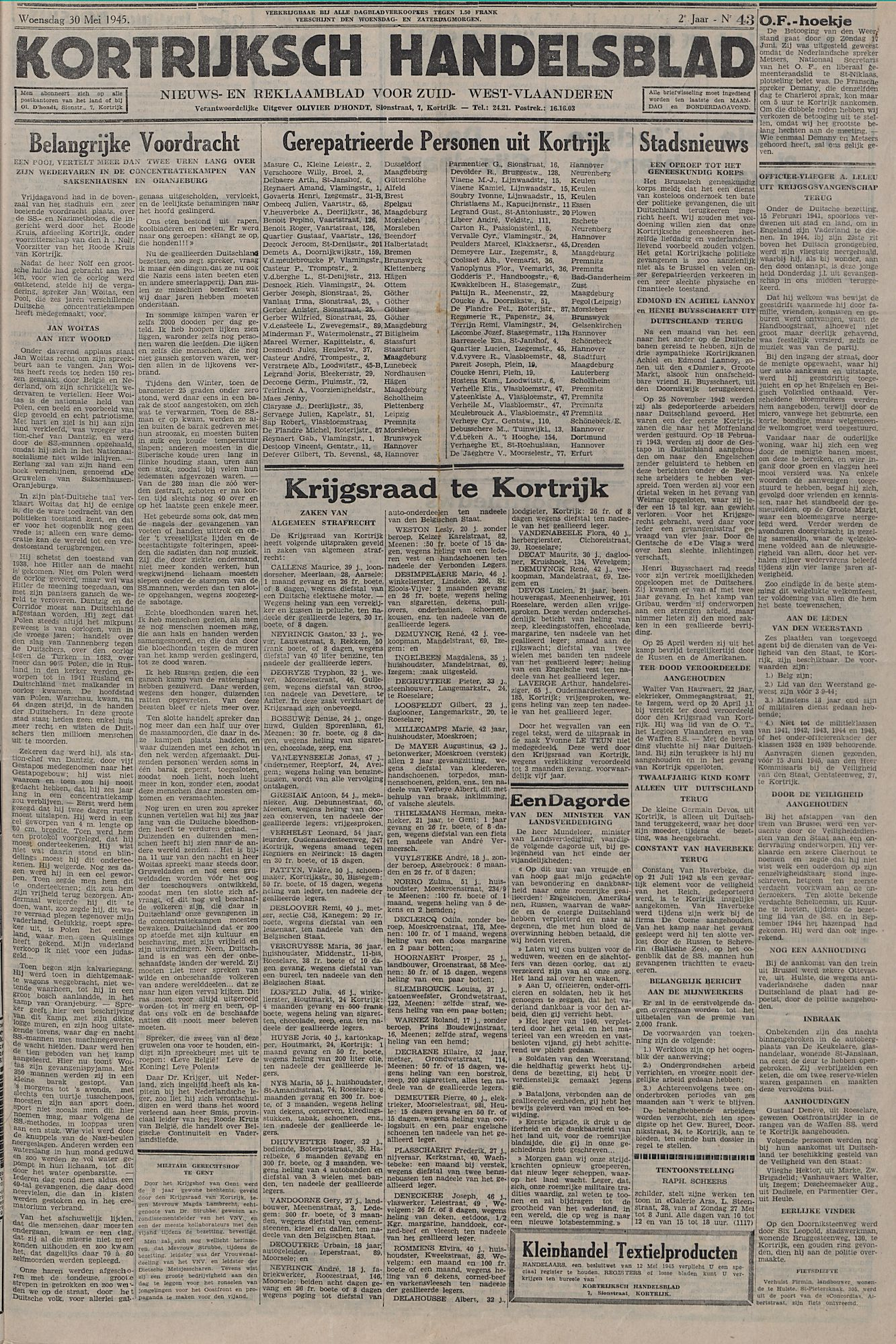 Kortrijksch Handelsblad 30 mei 1945 Nr43 p1
