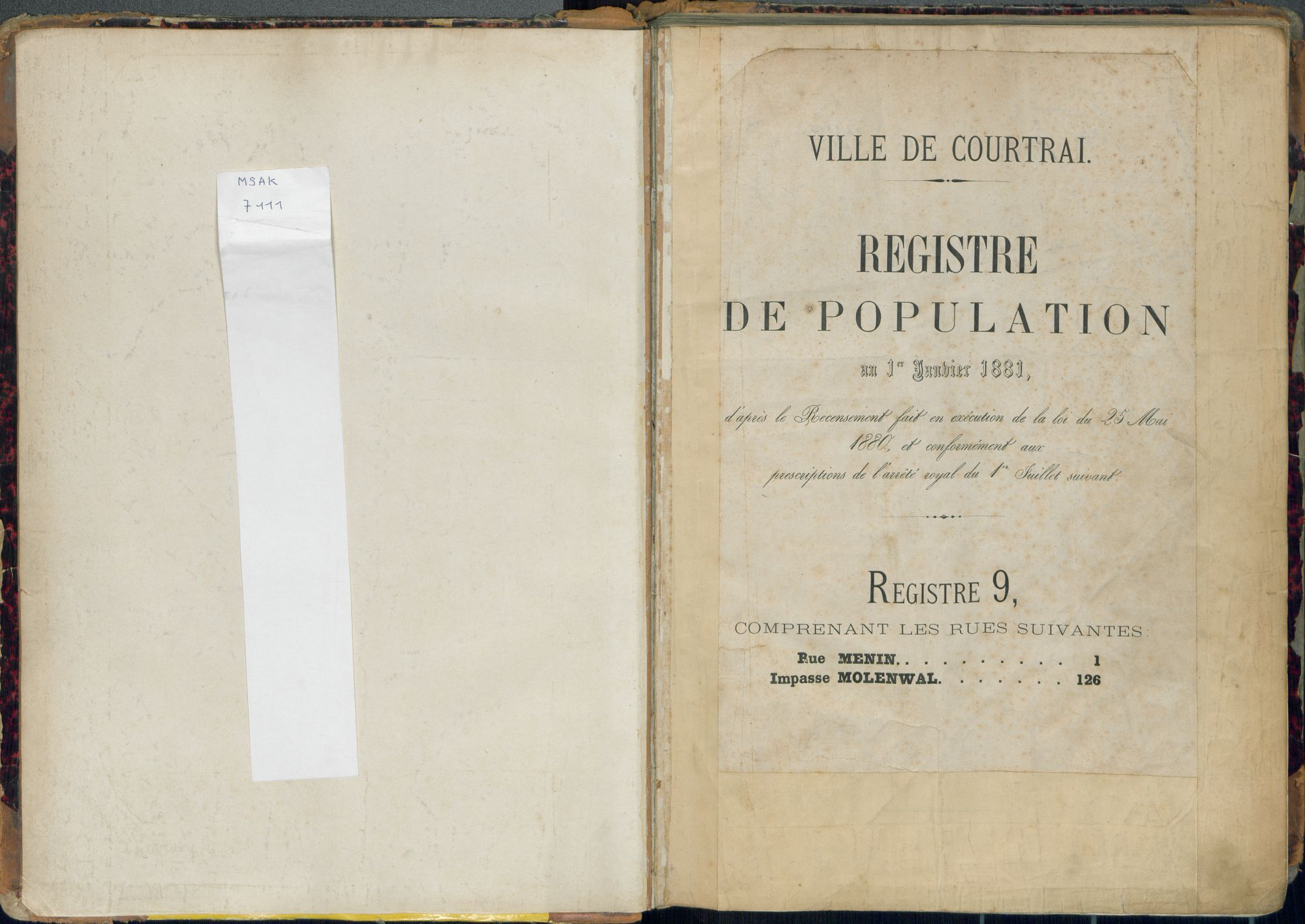 Bevolkingsregister Kortrijk 1880 boek 9