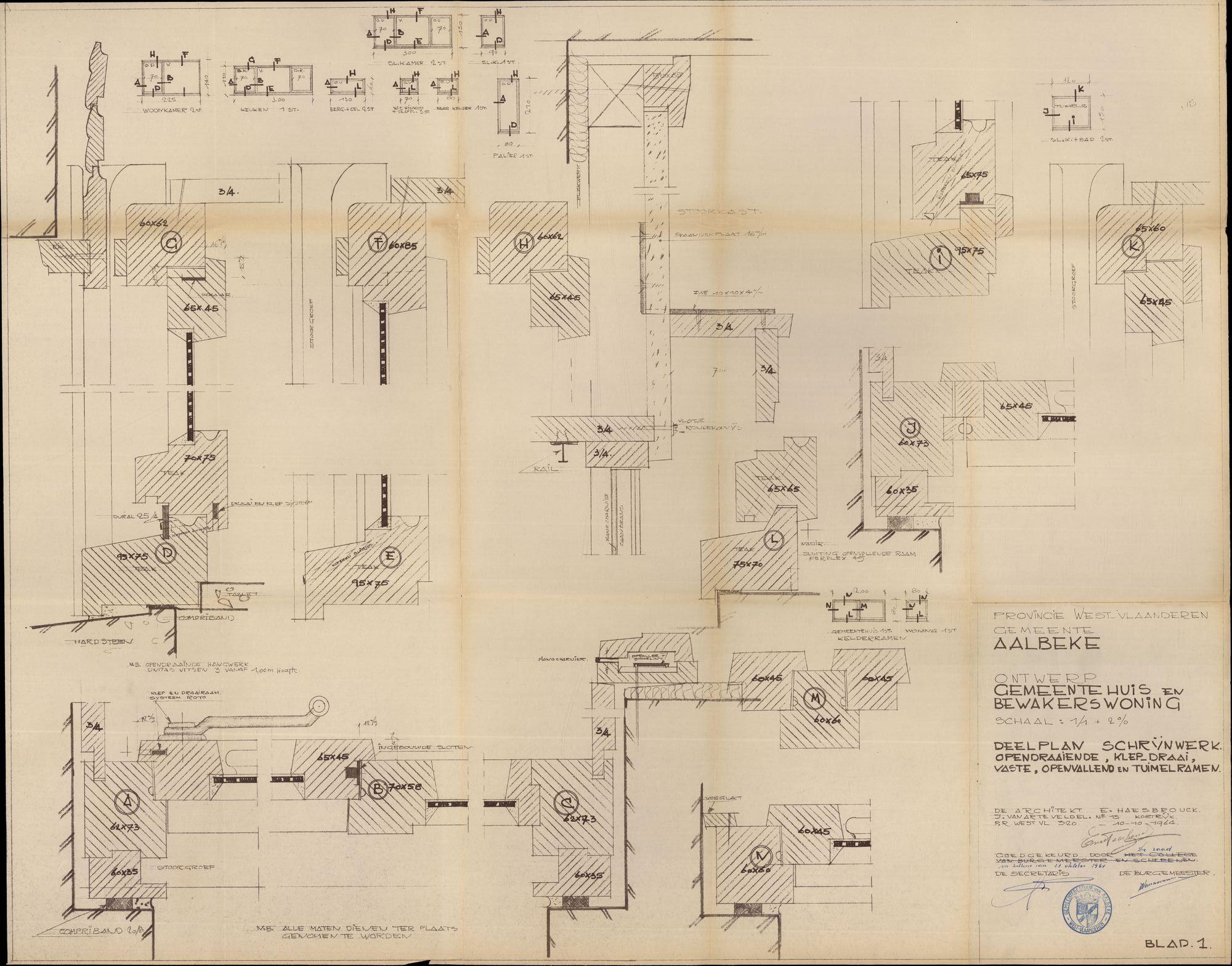 Bouwplannen voor een nieuw gemeentehuis te Aalbeke, 1964