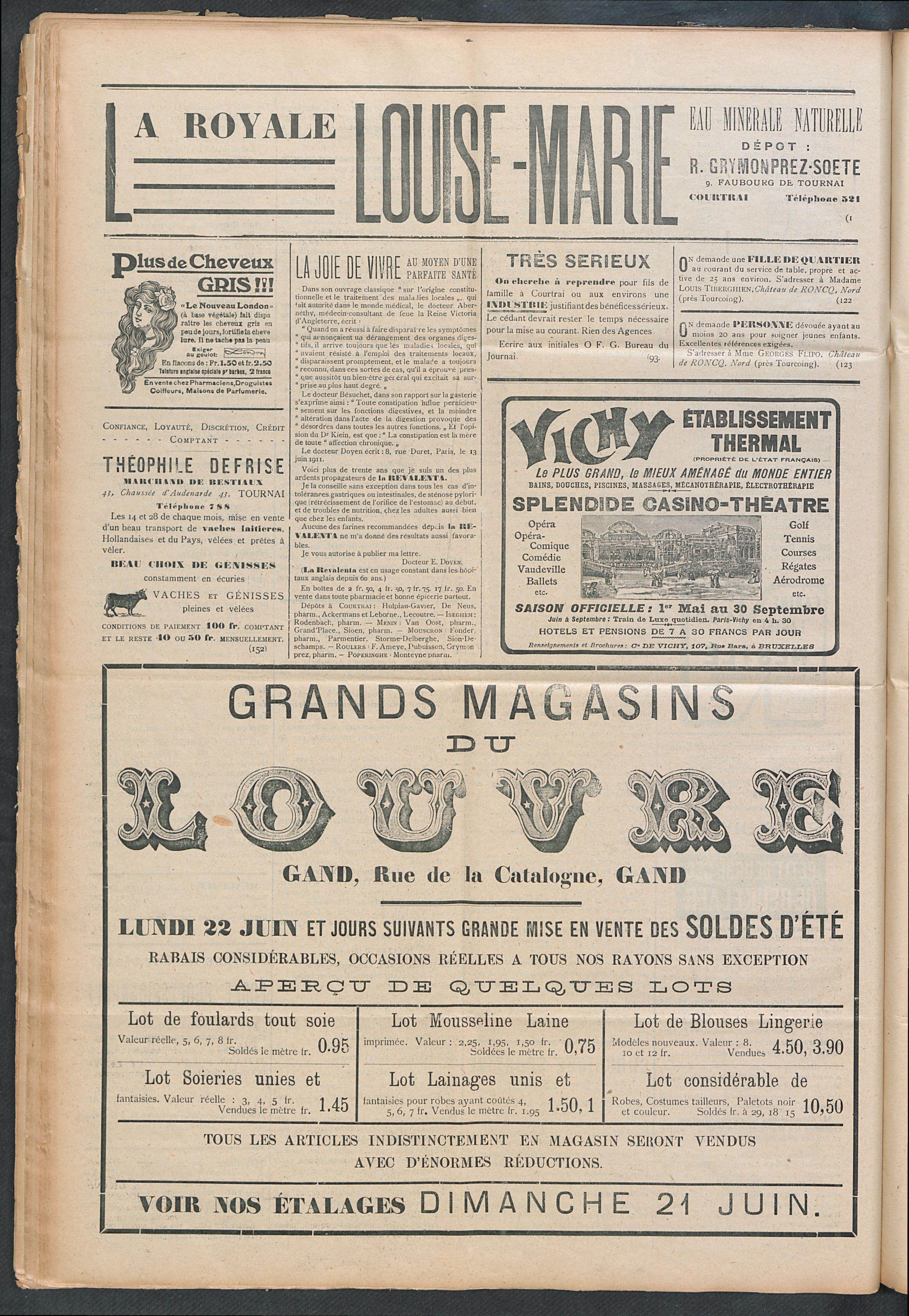 L'echo De Courtrai 1914-06-21 p4