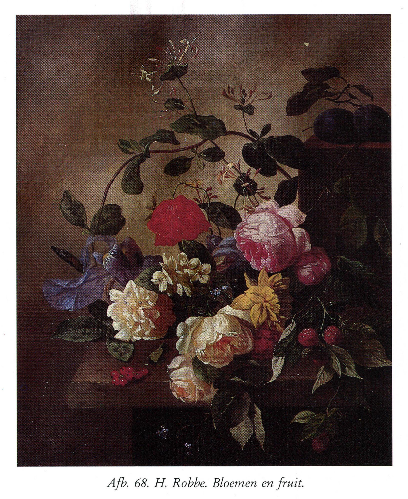 Bloemen en fruit van Hendrik (Henri) Robbe