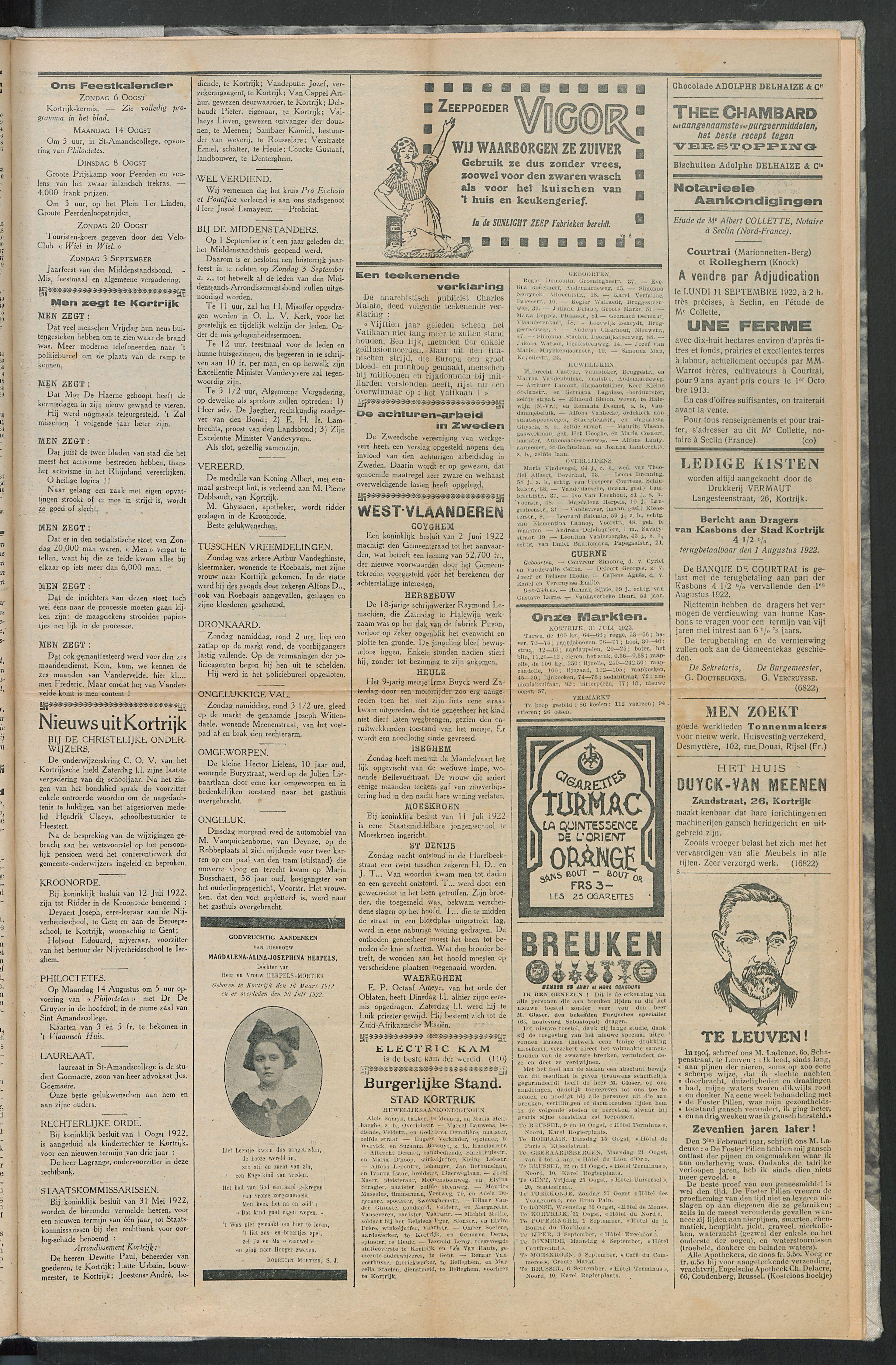 Het Kortrijksche Volk 1922-08-06 p3