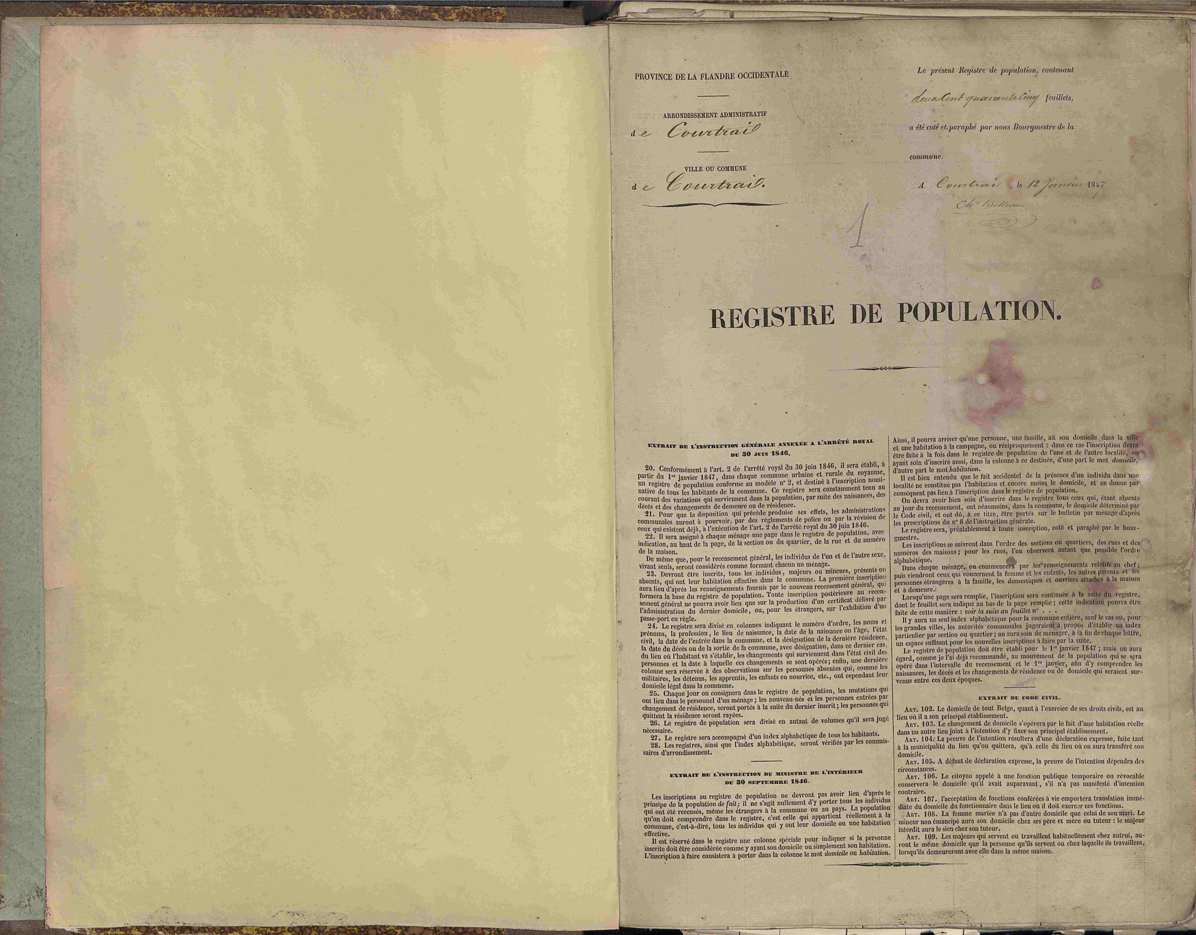 Bevolkingsregister Kortrijk 1846 boek 1