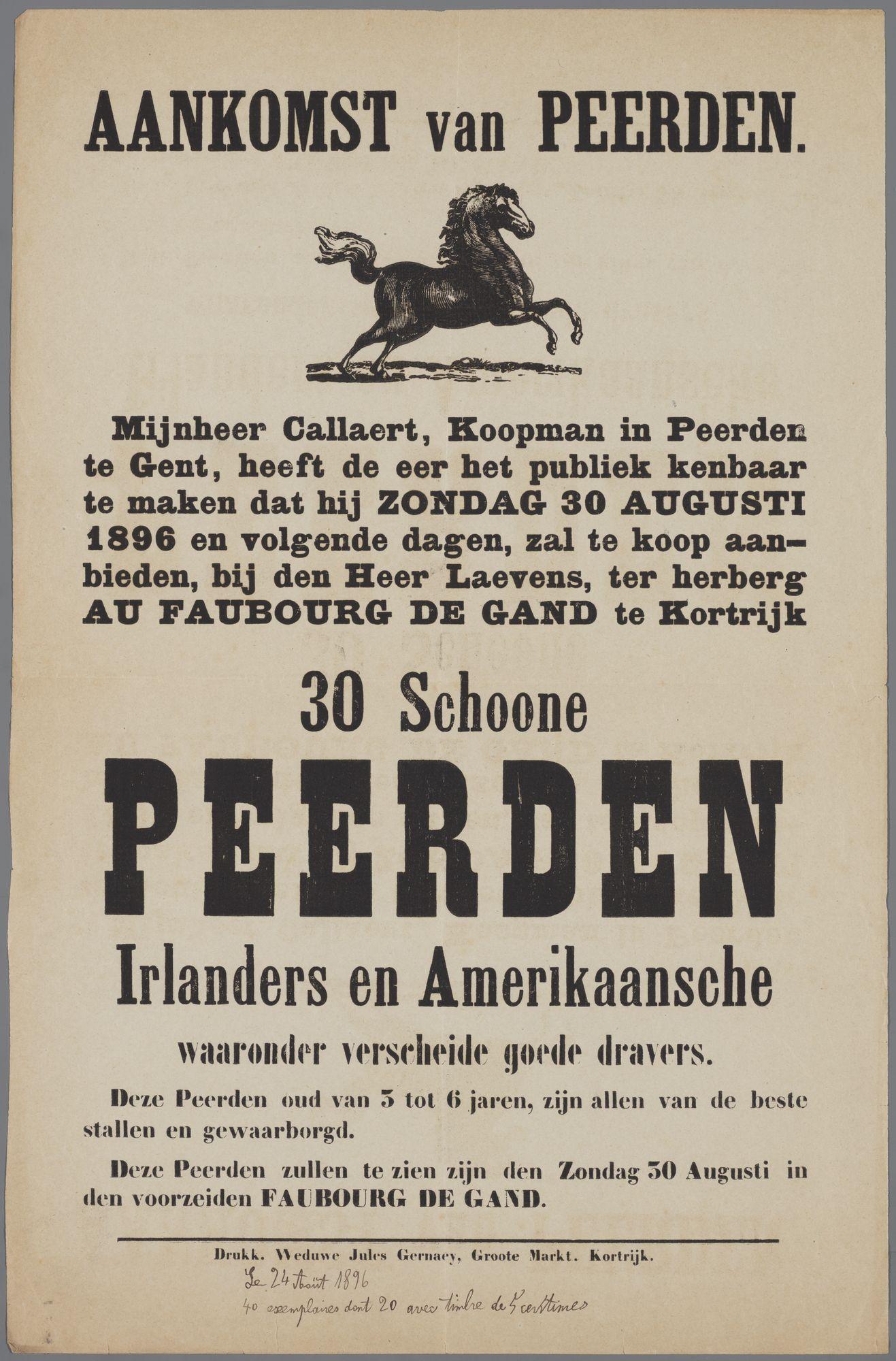 Verkoop van paarden 1896