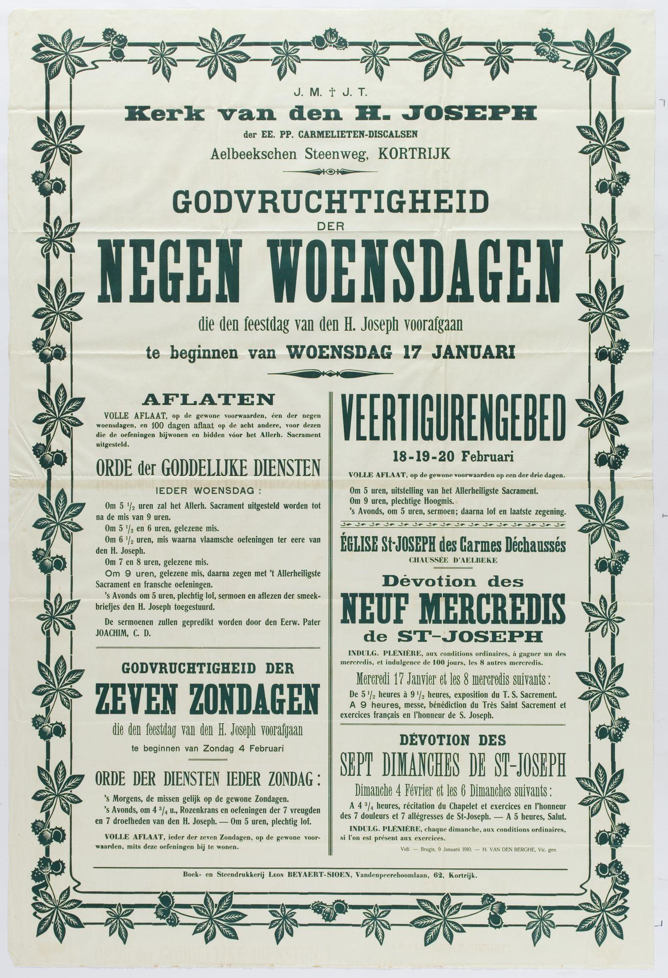 Plechtigheden Sint Jozefskerk 1910