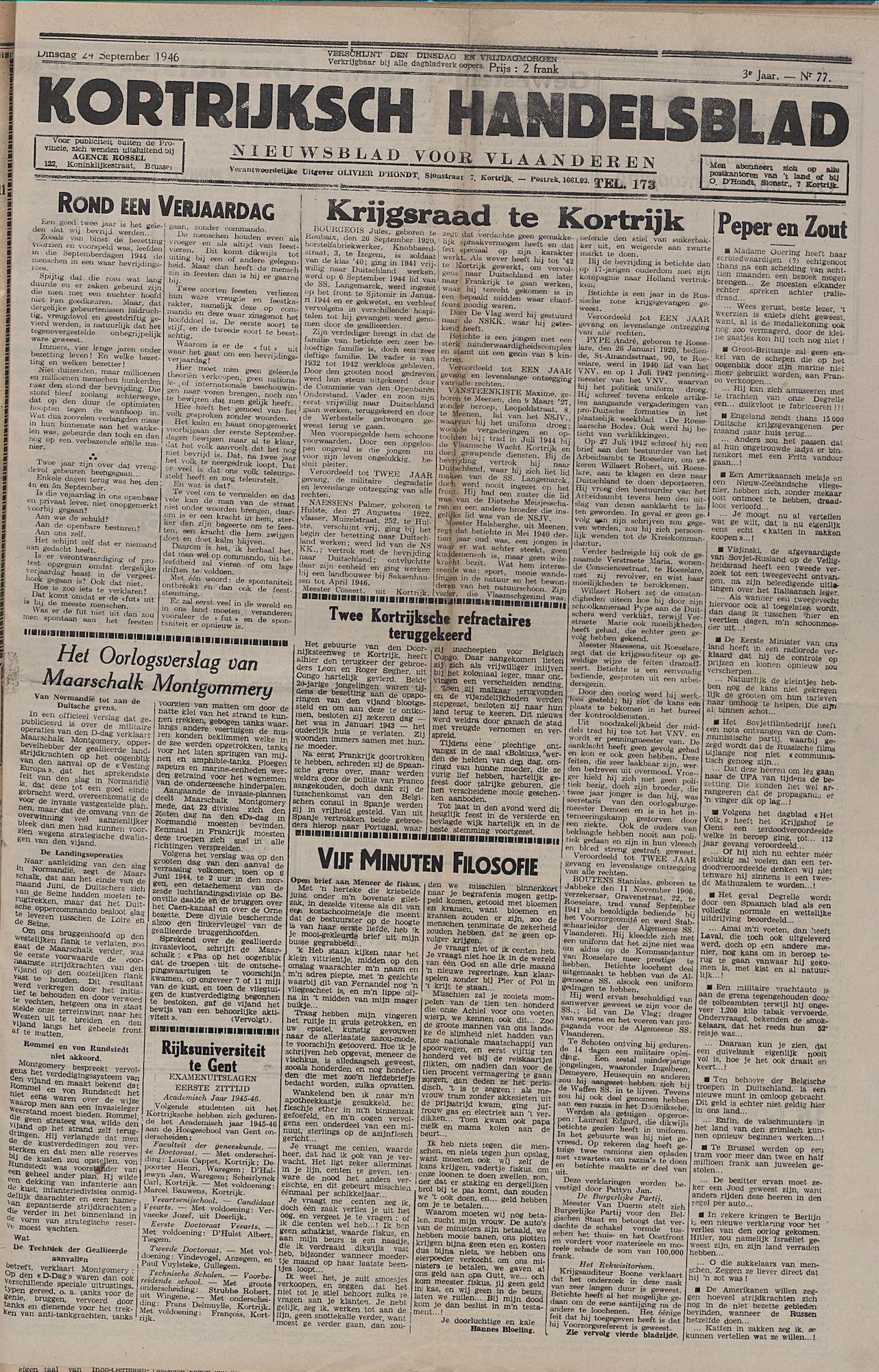 Kortrijksch Handelsblad 24 september 1946 Nr77 p1