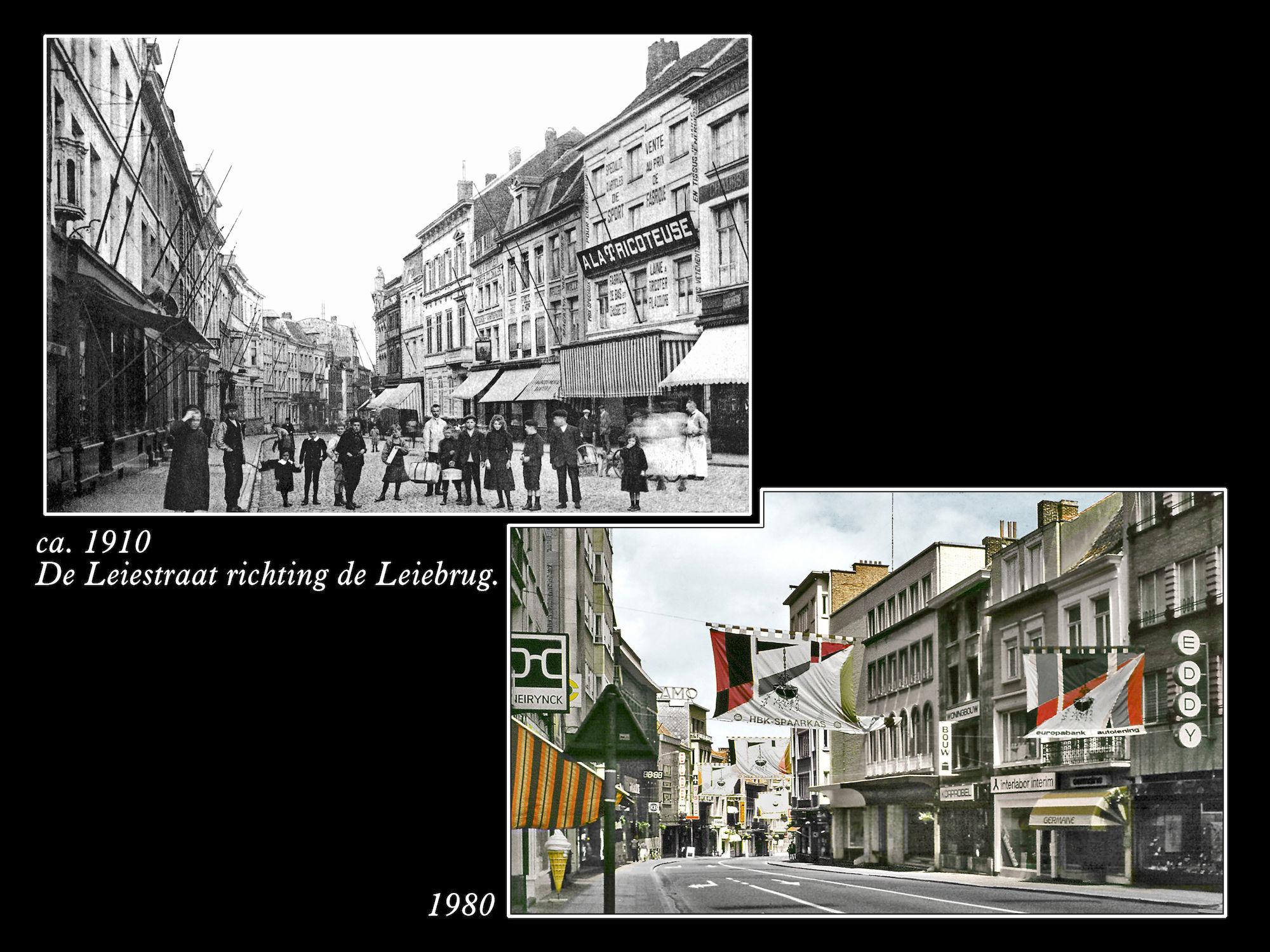 Leiestraat rond 1910 en in 1980.