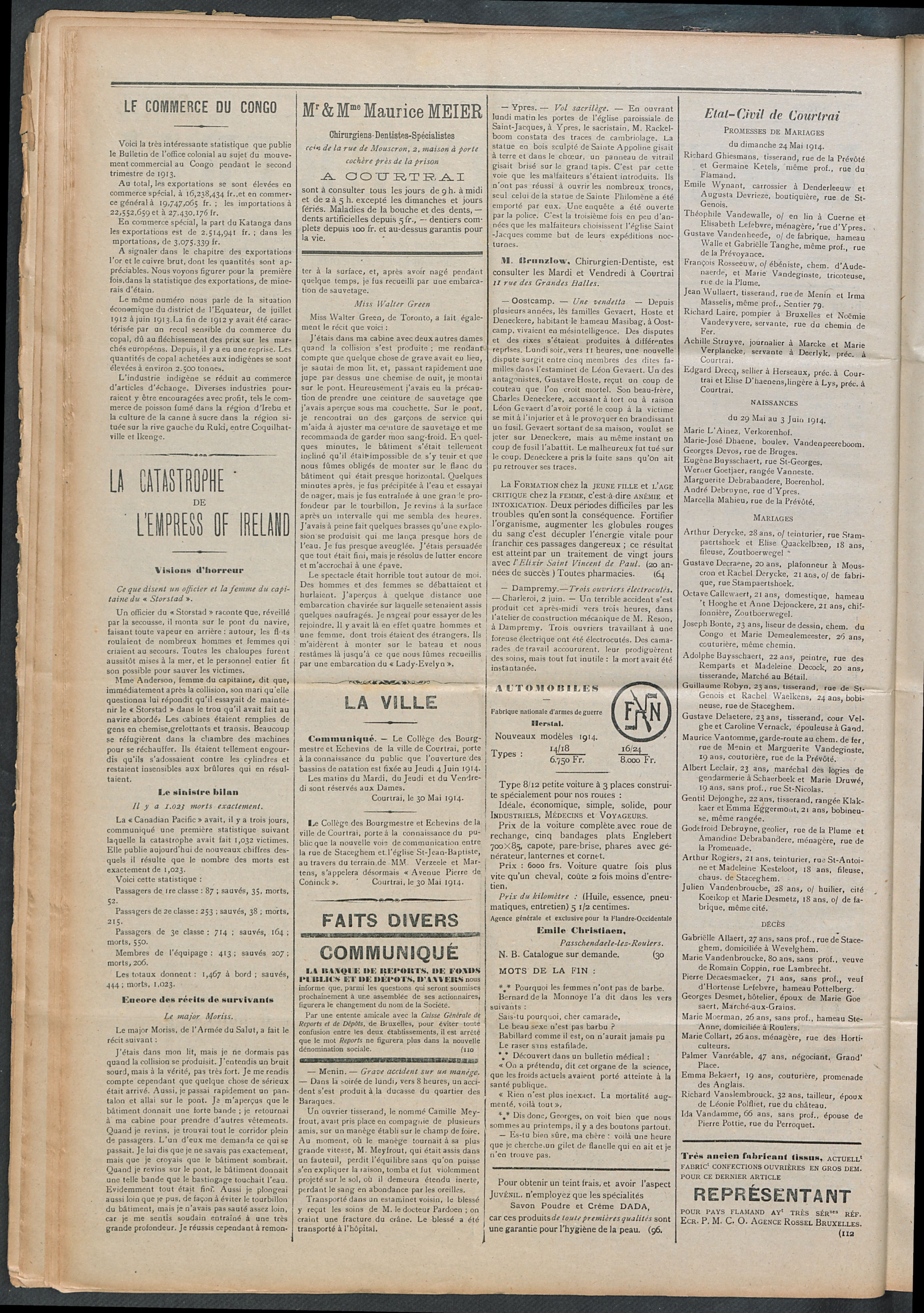 L'echo De Courtrai 1914-06-04 p2