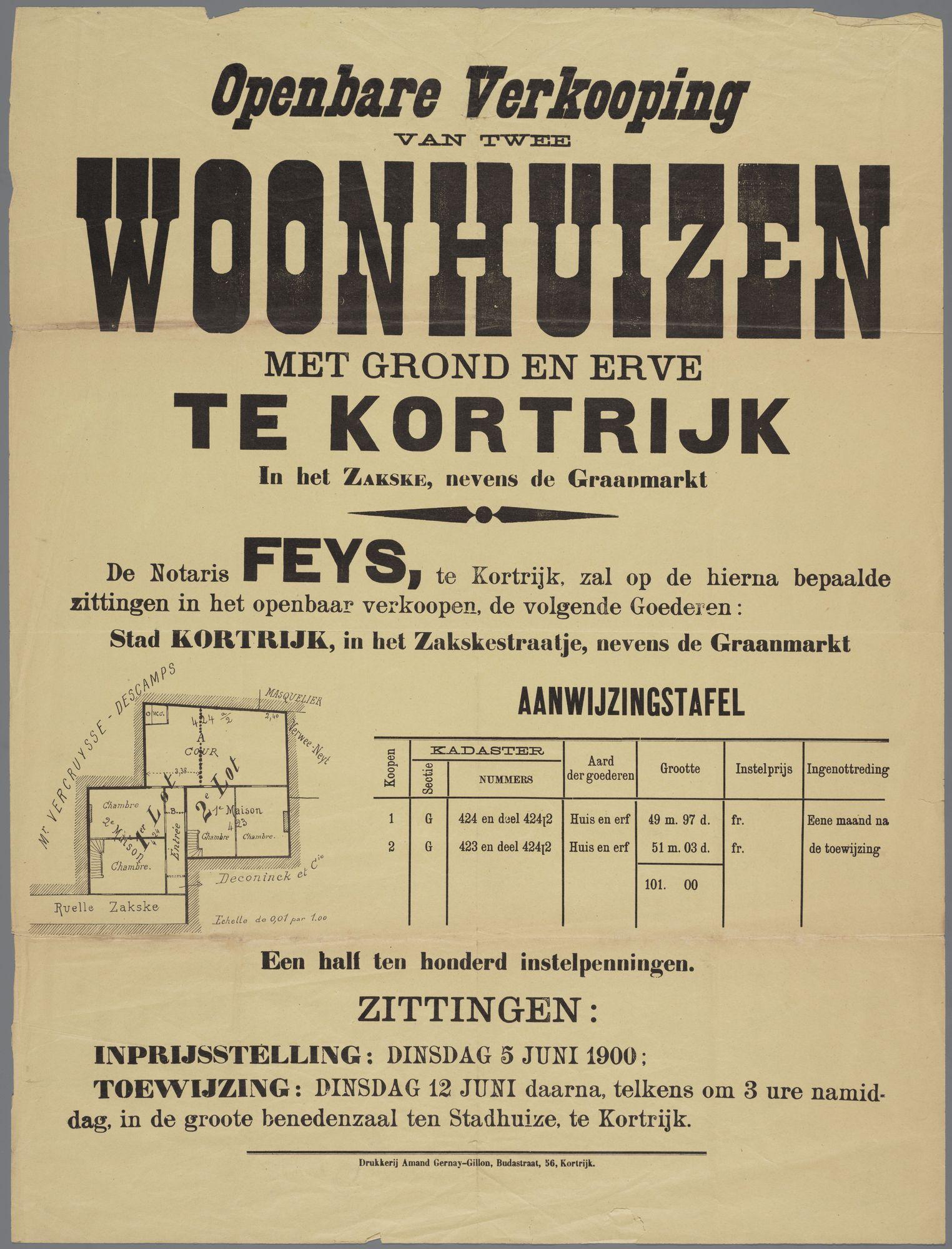 Verkoop woonhuizen te Kortrijk 1900
