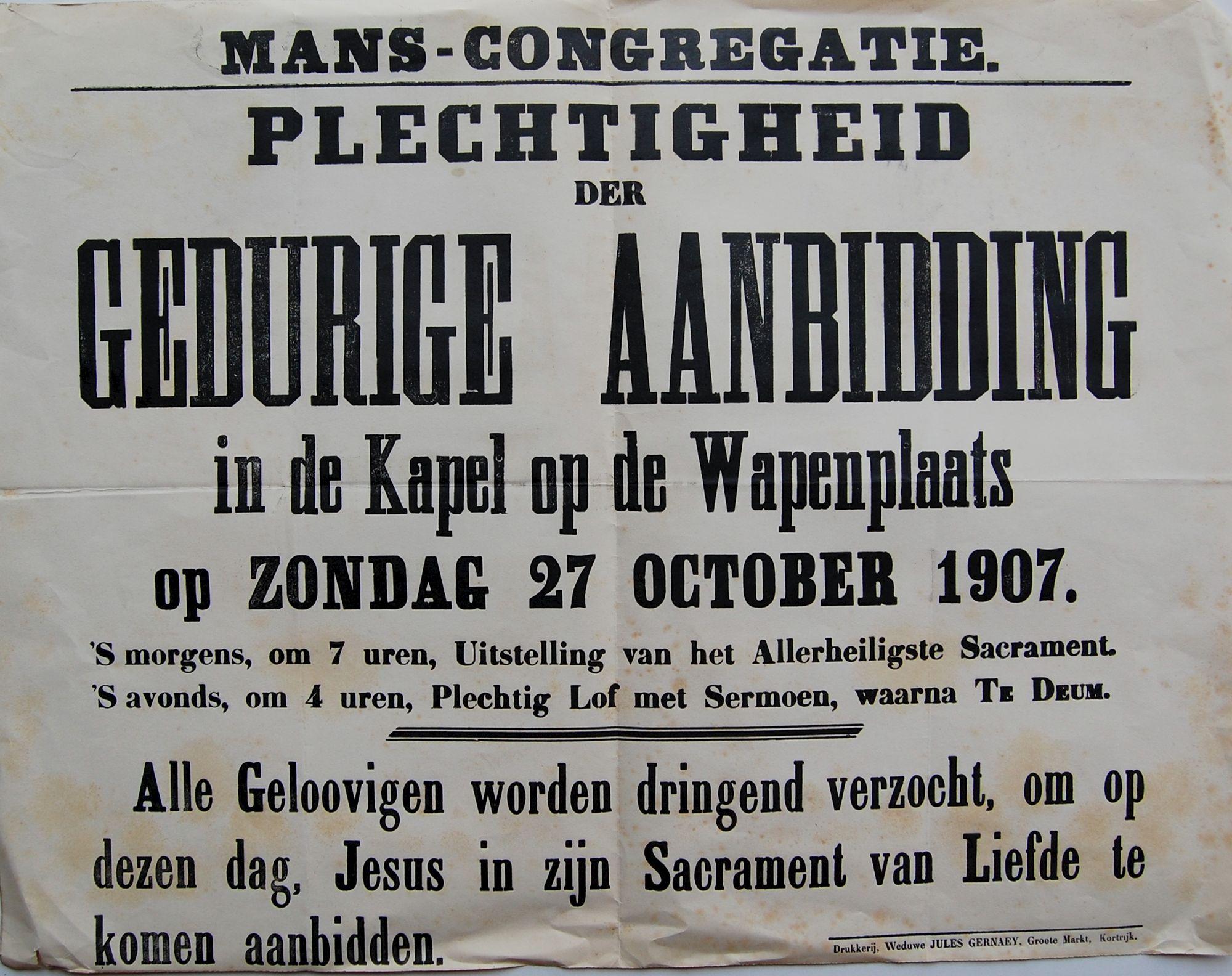 Gebedsdienst in 1907