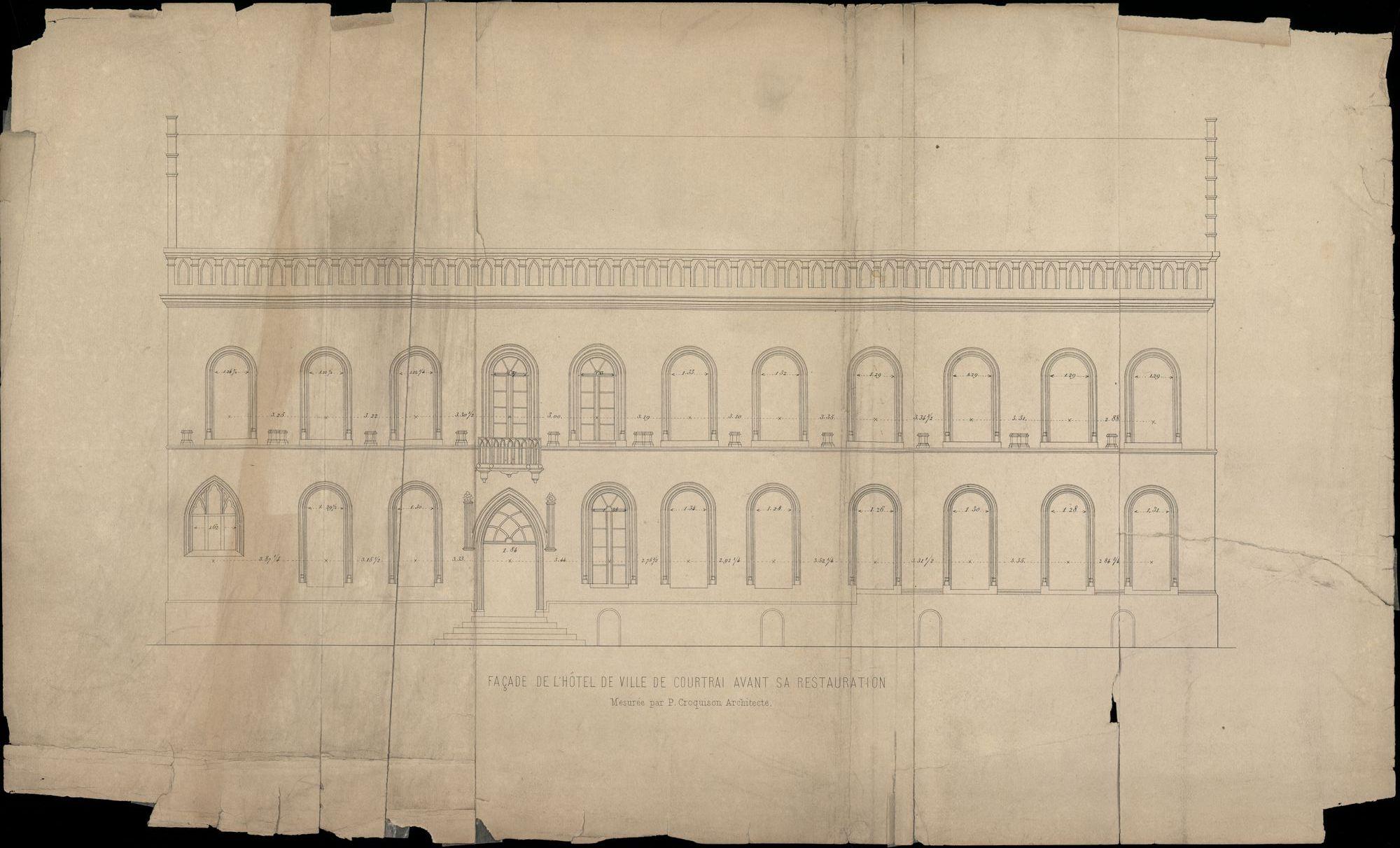 Bouwplan van de gevel van het stadhuis te Kortrijk, opgemaakt door P. Croquison, 1855-1856