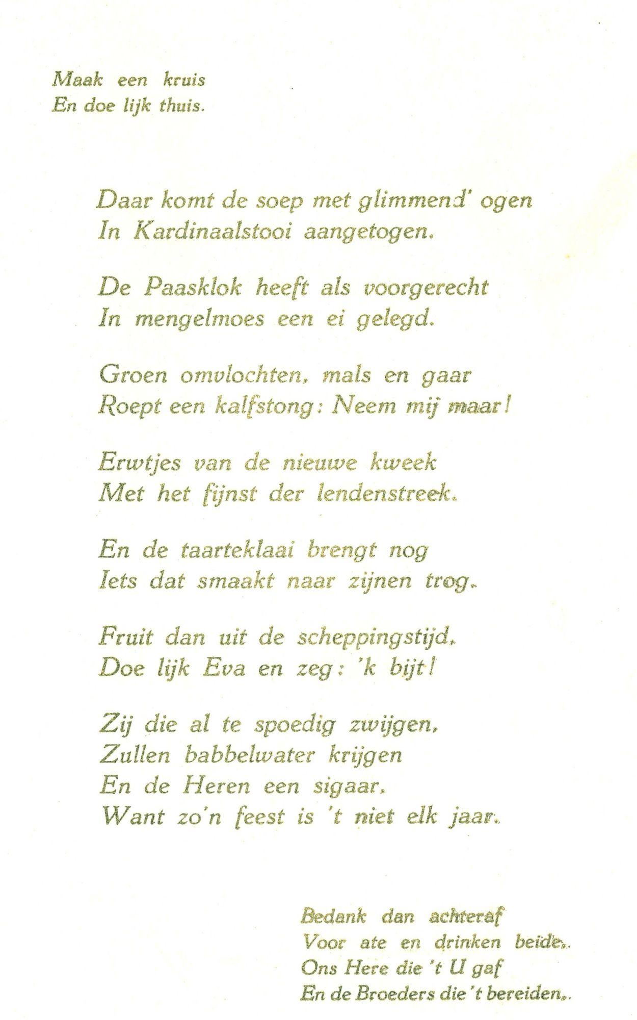 Spijskaart plechtige mis André Halsberghe