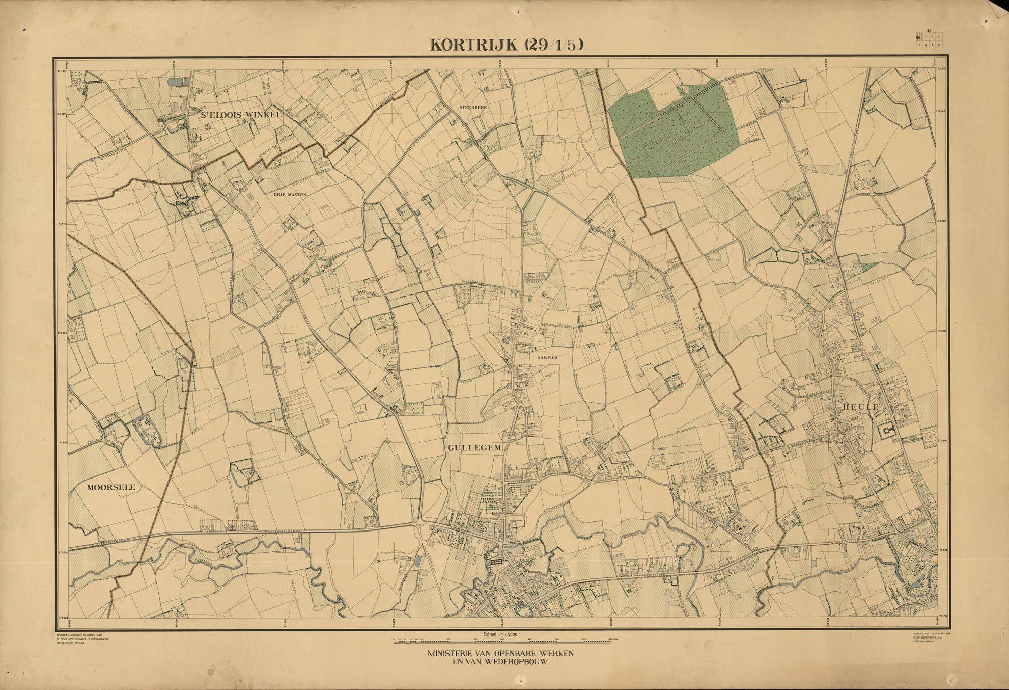 Kaart van de omgeving van Kortrijk, gemaakt in opdracht van het ministerie van Openbare Werken en van Wederopbouw, 1952