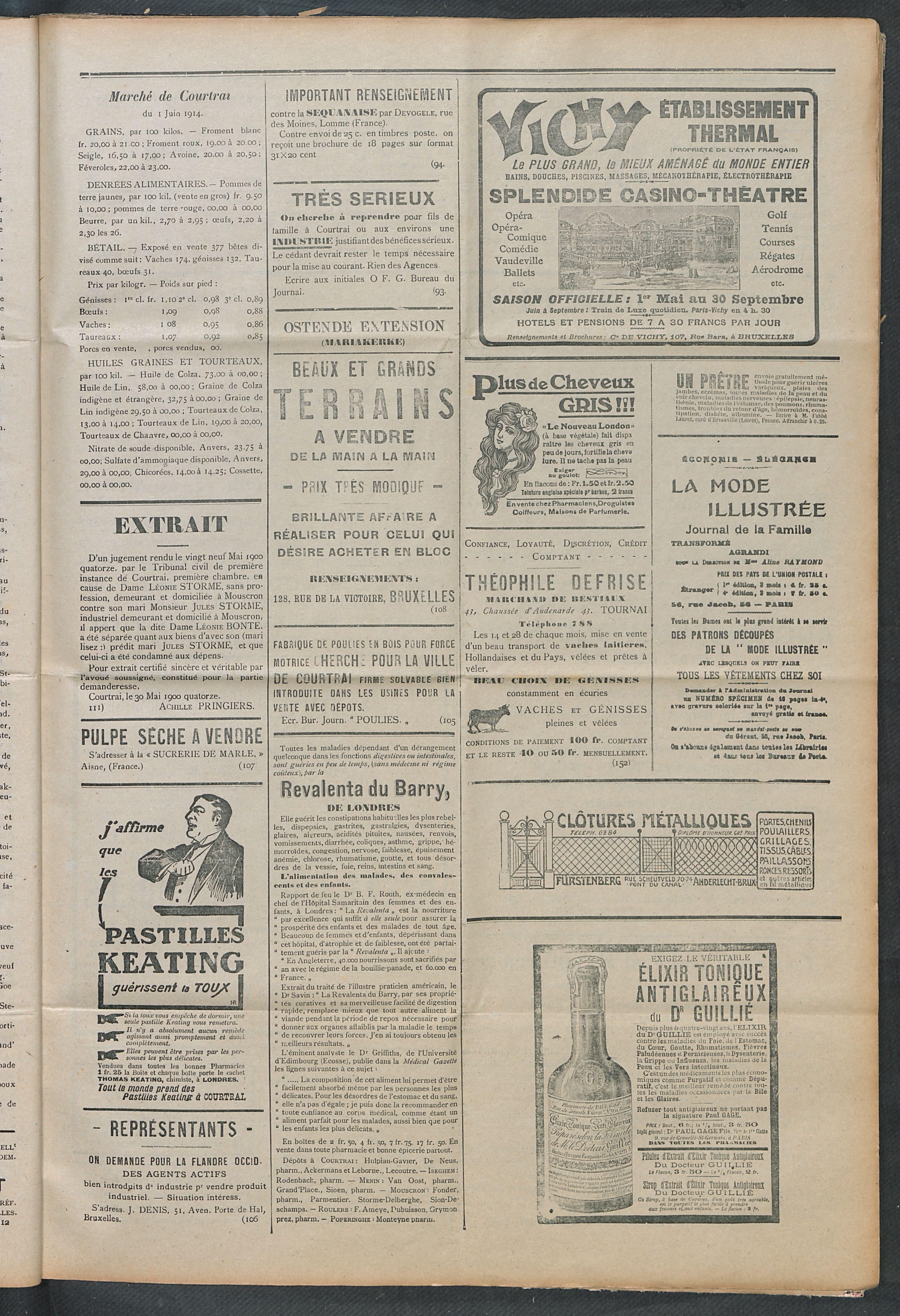 L'echo De Courtrai 1914-06-04 p3