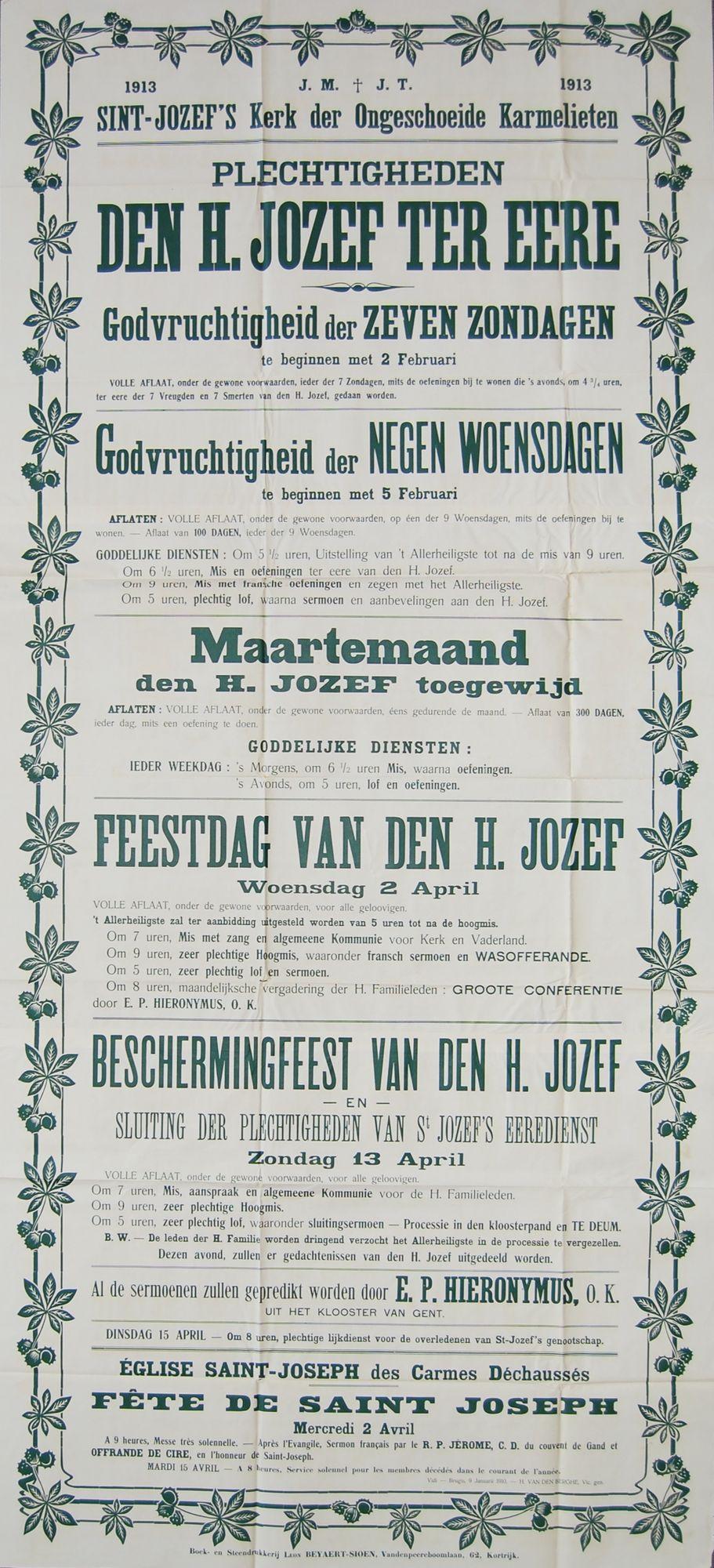 Plechtigheden Sint-Jozefskerk in 1913