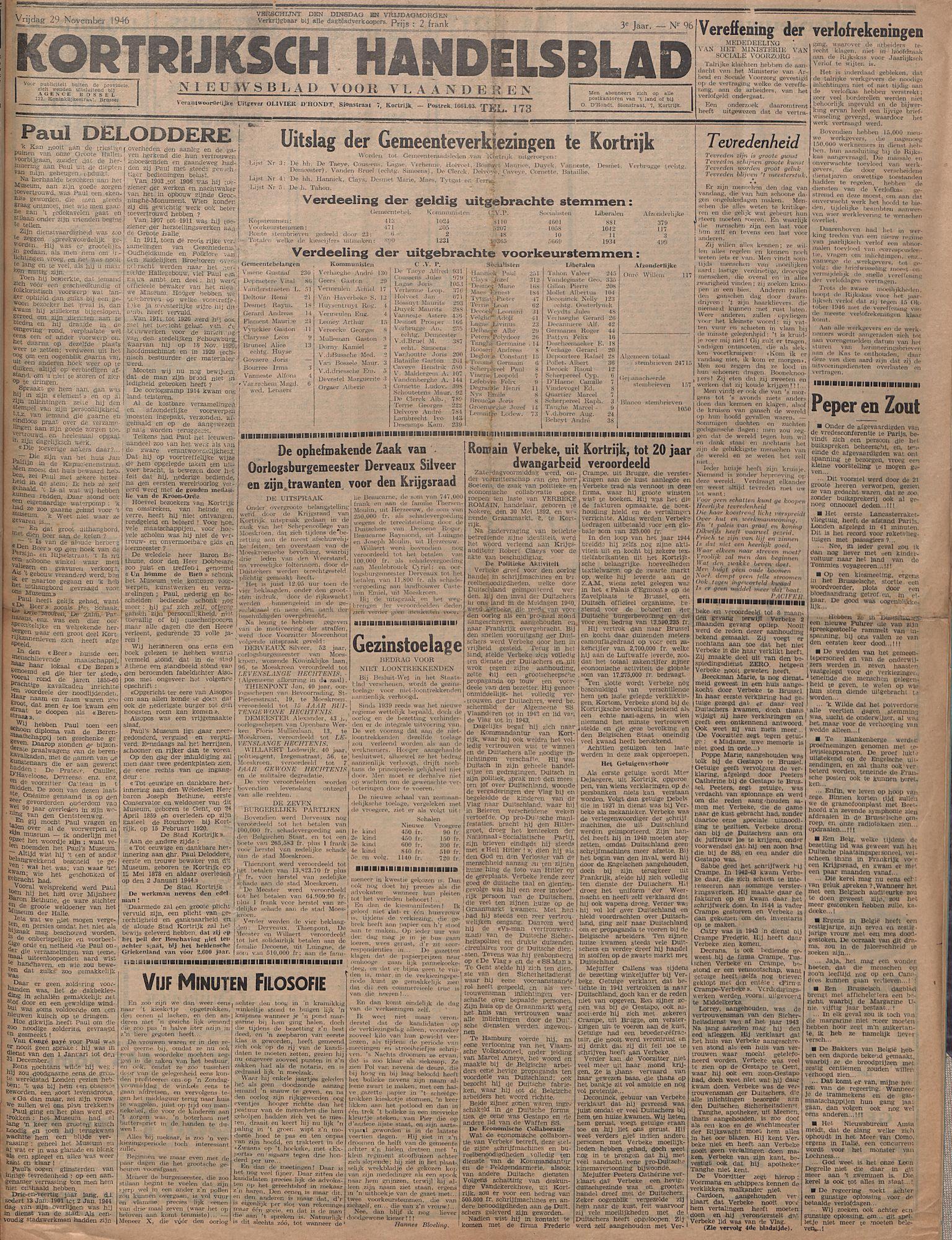 Kortrijksch Handelsblad 29 november 1946 Nr96 p1