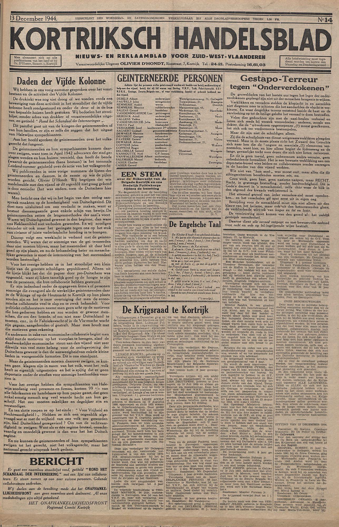 Kortrijksch Handelsblad 13 december 1944 Nr14 p1