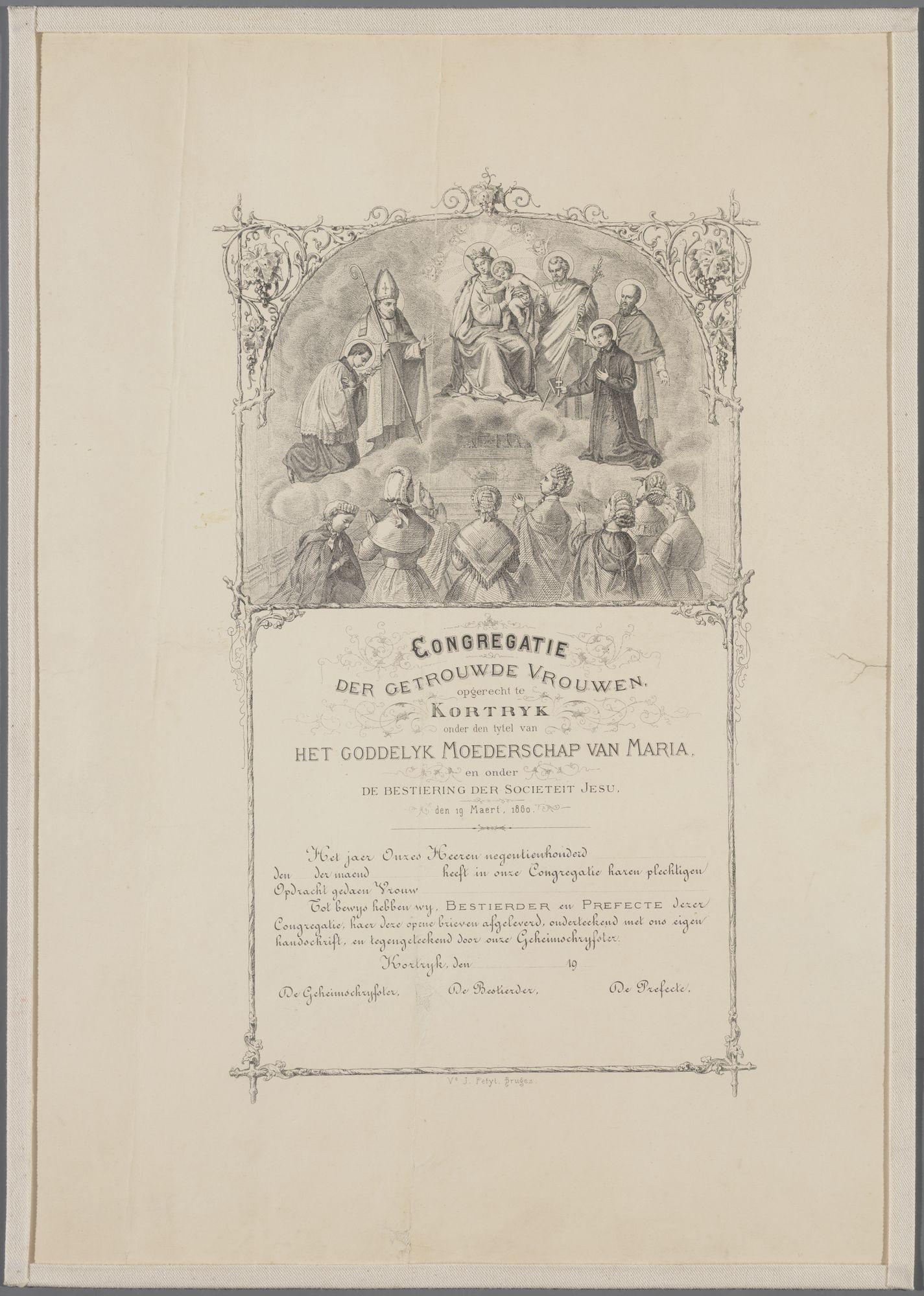 Oprichting van de Congregatie der getrouwde vrouwen