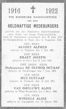 Nagedachtenis voor heldhaftige medeburgers 1916-1922