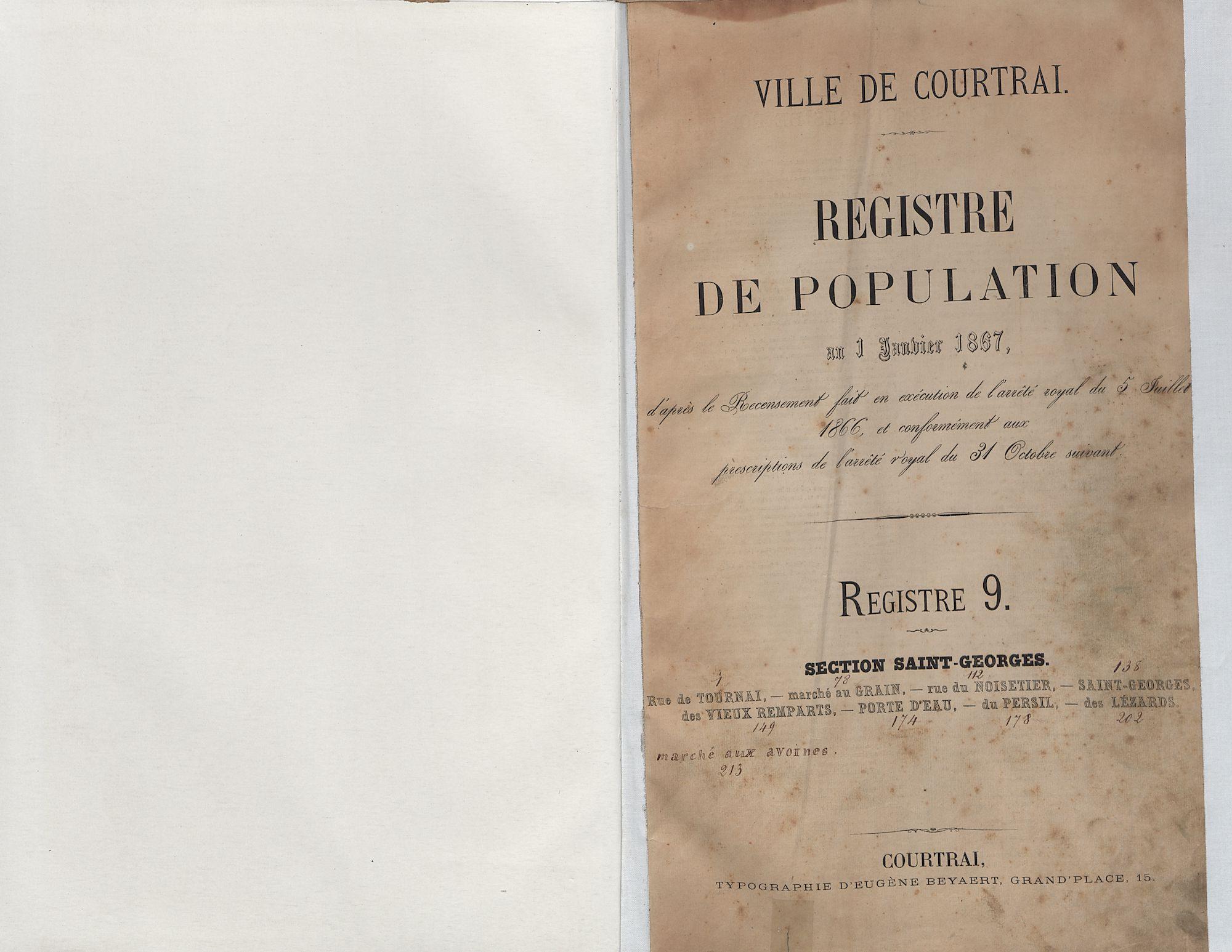Bevolkingsregister Kortrijk 1866 boek 9