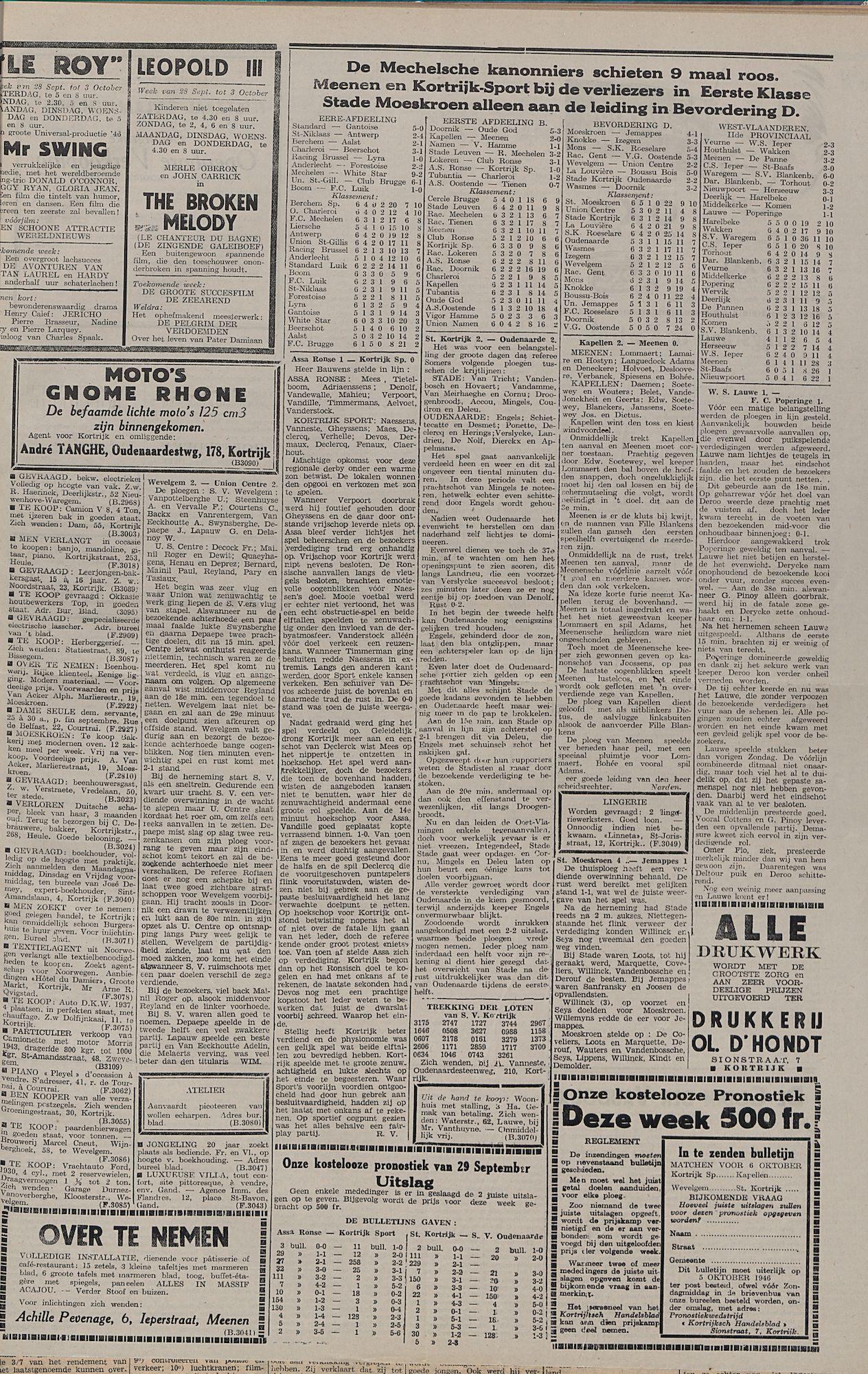 Kortrijksch Handelsblad 1 oktober 1946 Nr79 p3