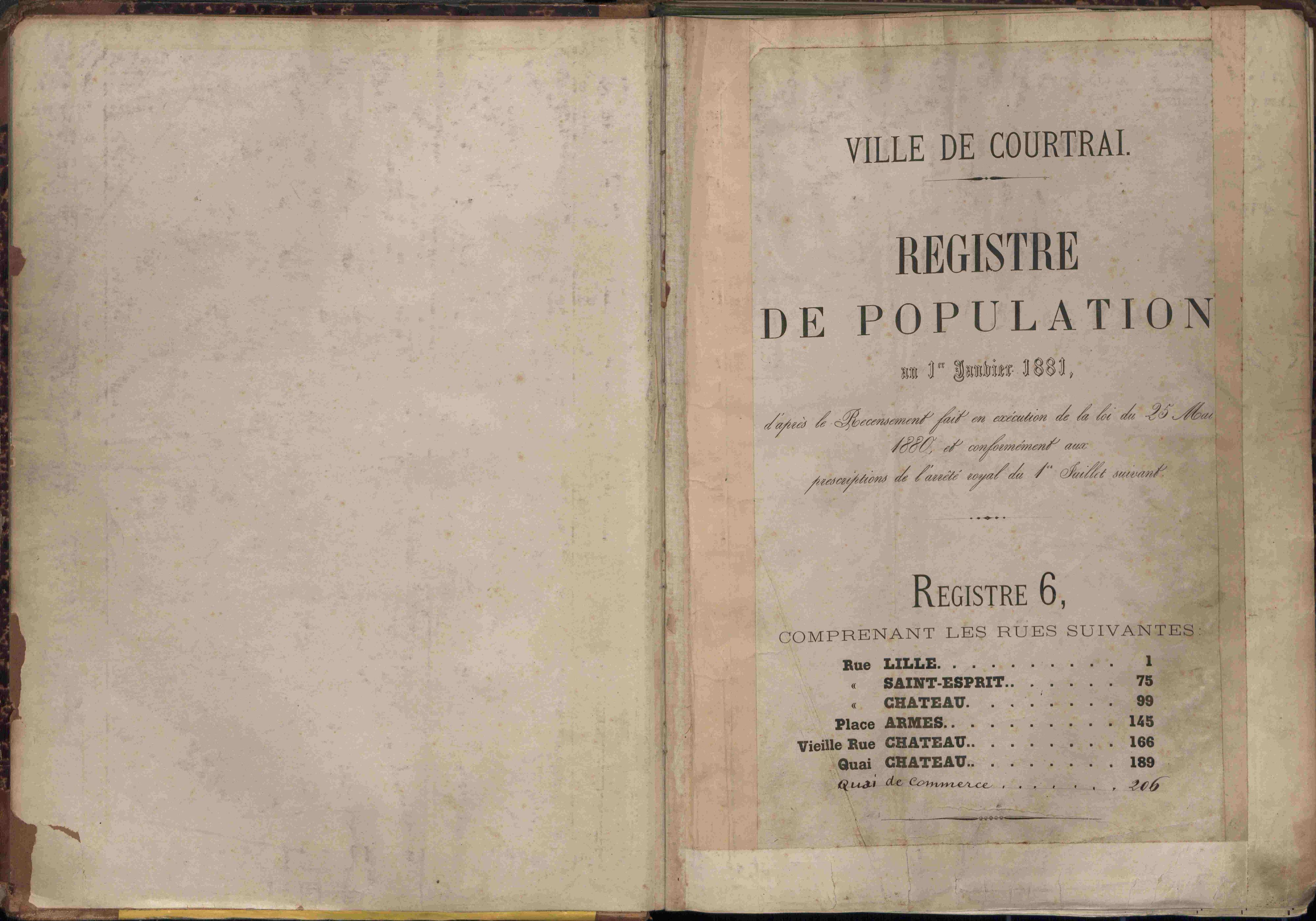 Bevolkingsregister Kortrijk 1880 boek 6