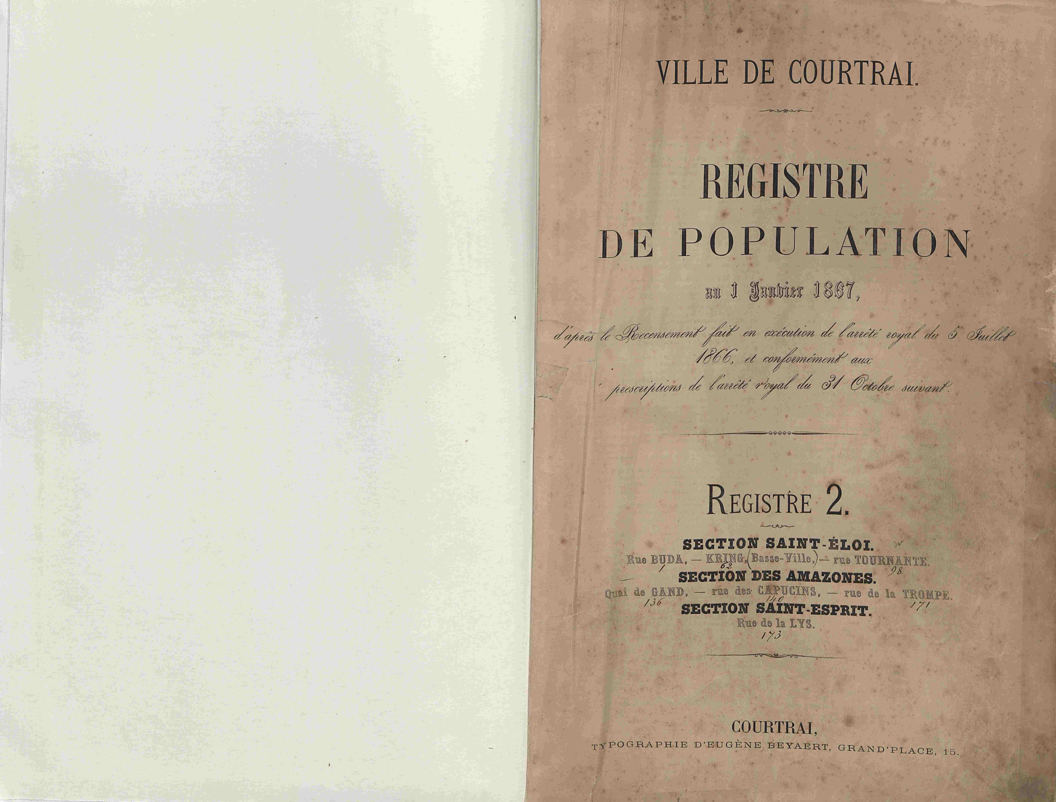 Bevolkingsregister Kortrijk 1866 boek 2