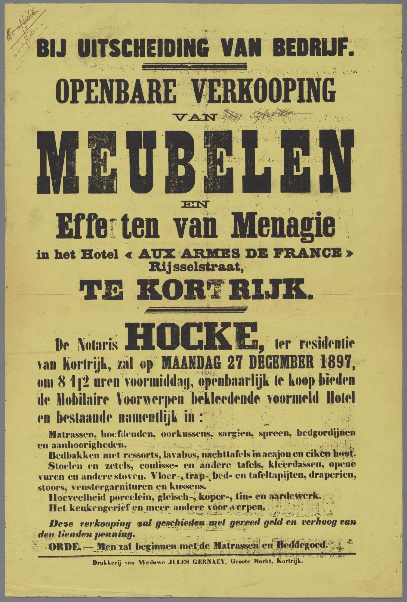 Verkoop van meubelen te Kortrijk1897