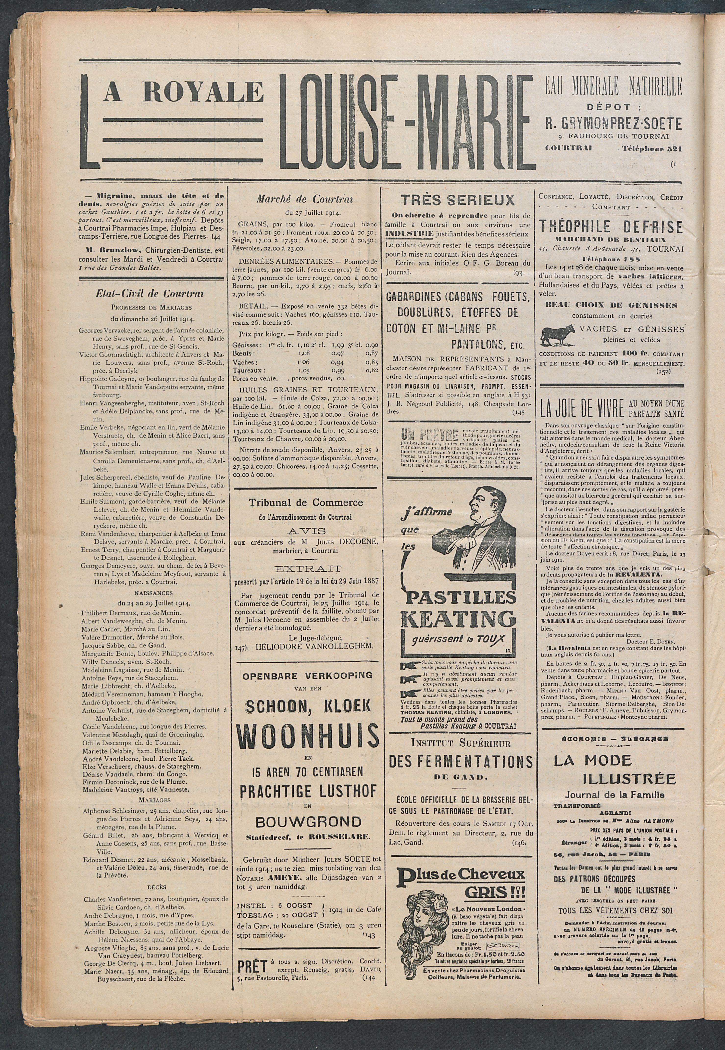 L'echo De Courtrai 1914-08-02 p6
