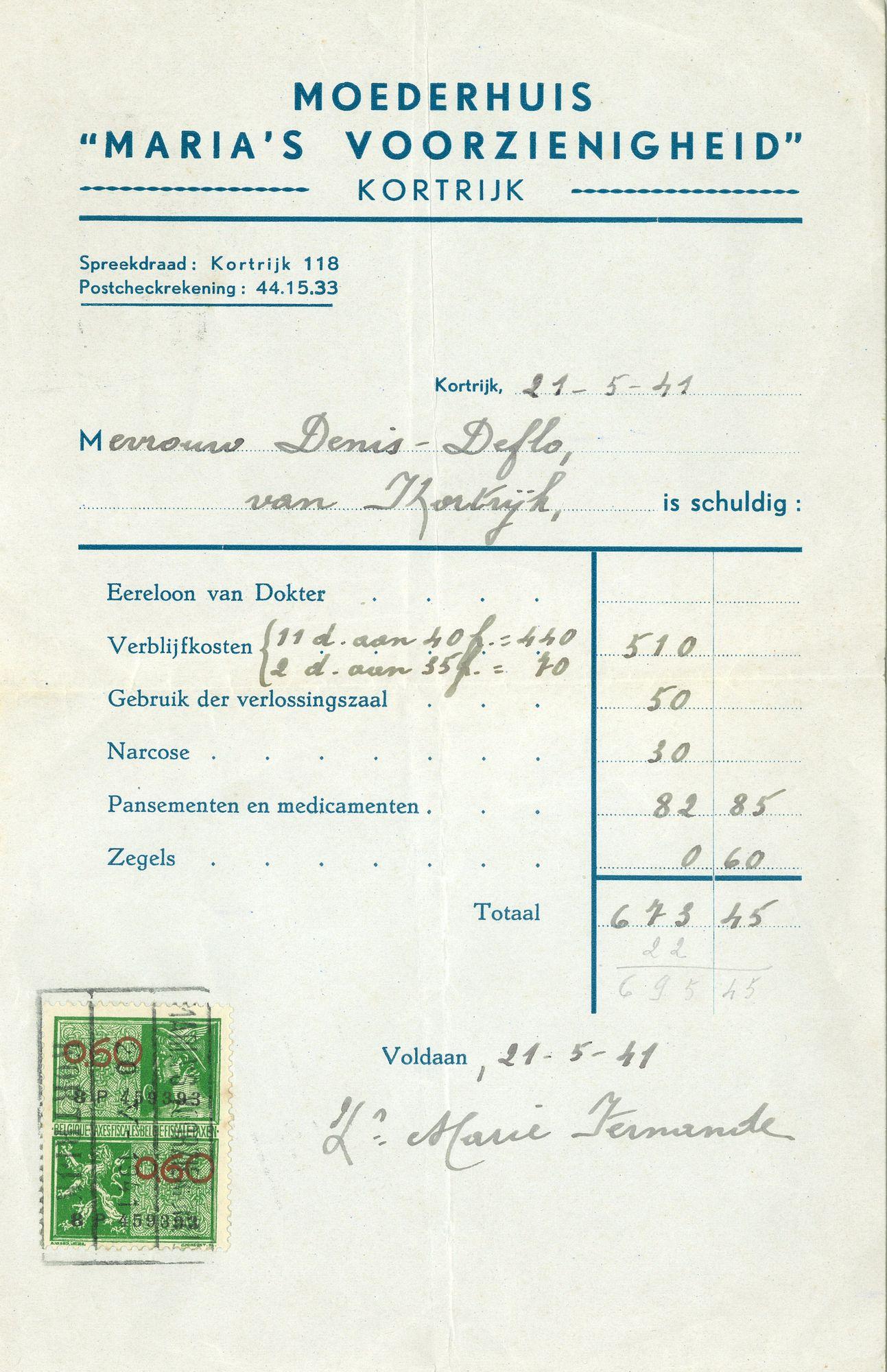 Factuur kraamkliniek  van 1941